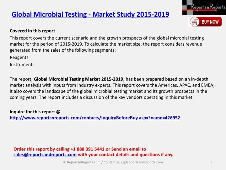 Global microbial testing market study 2015 20192