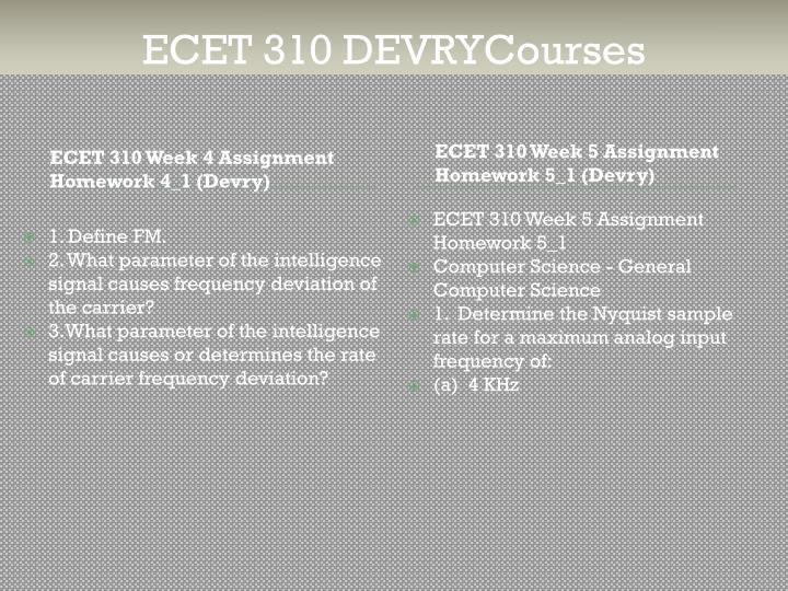 ECET 310 DEVRYCourses