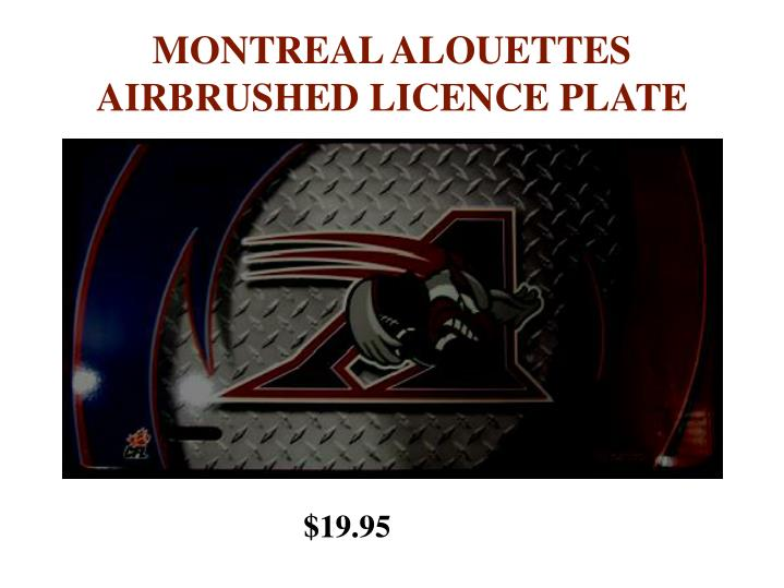 MONTREAL ALOUETTES AIRBRUSHED LICENCE PLATE