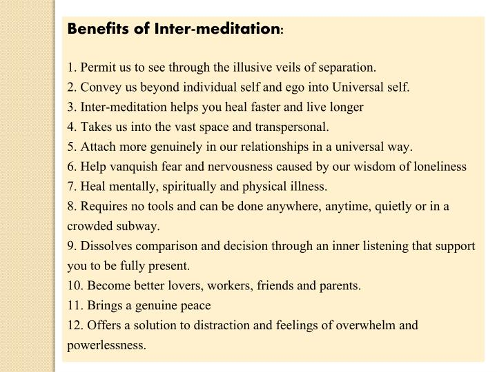 Benefits of Inter-meditation: