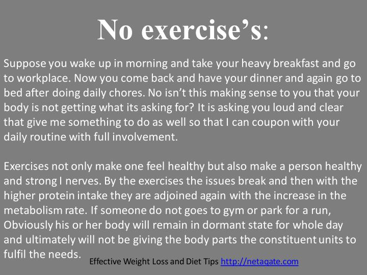 No exercise's