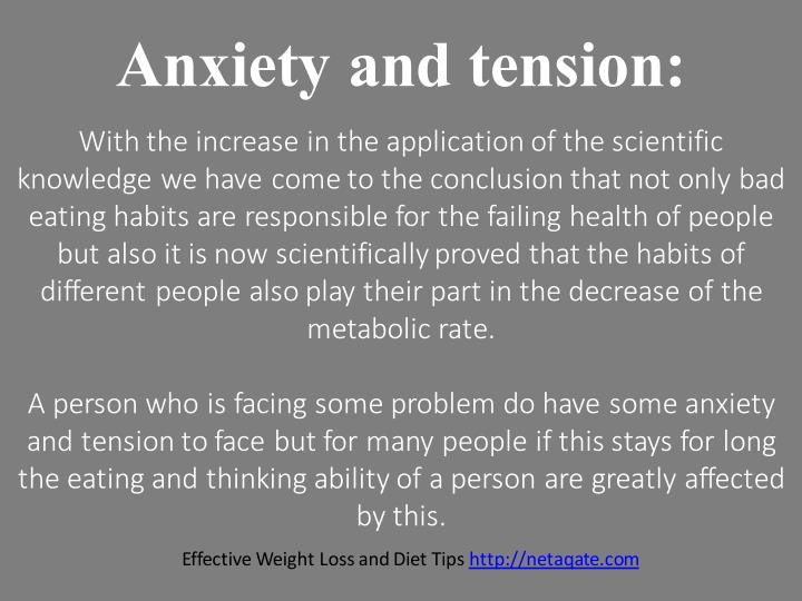 Anxiety and tension: