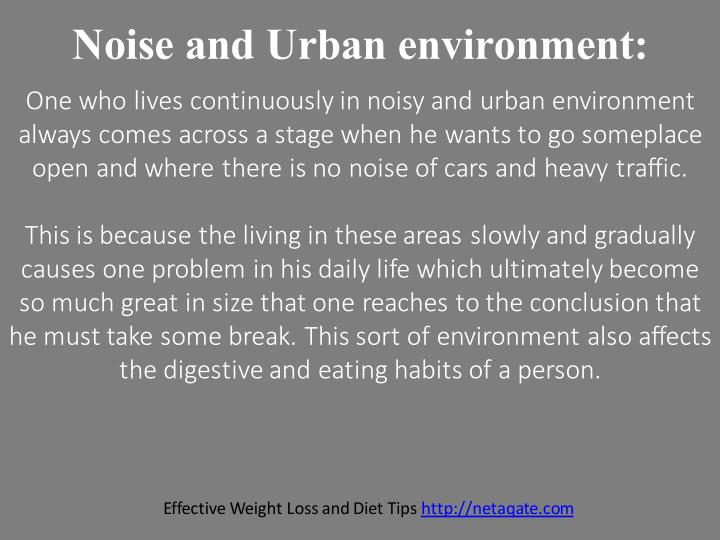 Noise and Urban environment: