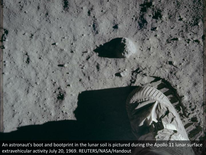 An astronaut's boot and bootprint in the lunar soil is pictured during the Apollo 11 lunar surface extravehicular activity July 20, 1969. REUTERS/NASA/Handout