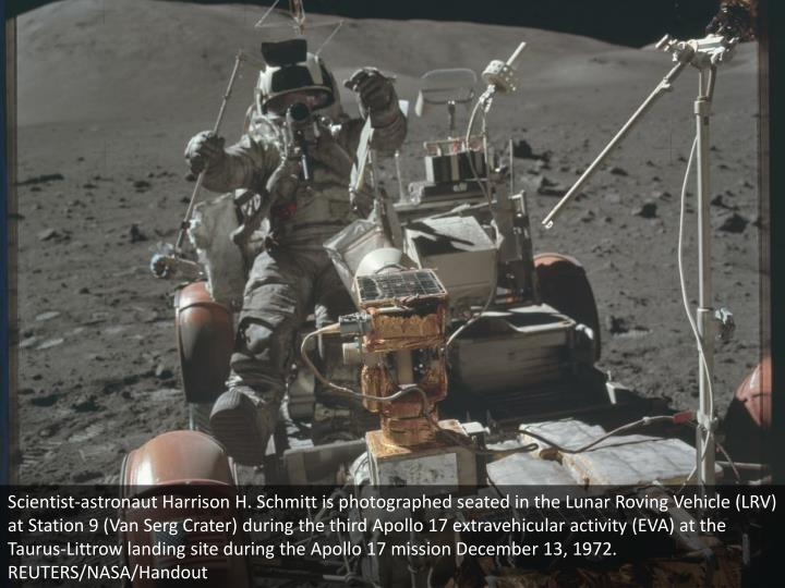 Scientist-astronaut Harrison H. Schmitt is photographed seated in the Lunar Roving Vehicle (LRV) at Station 9 (Van Serg Crater) during the third Apollo 17 extravehicular activity (EVA) at the Taurus-Littrow landing site during the Apollo 17 mission December 13, 1972. REUTERS/NASA/Handout