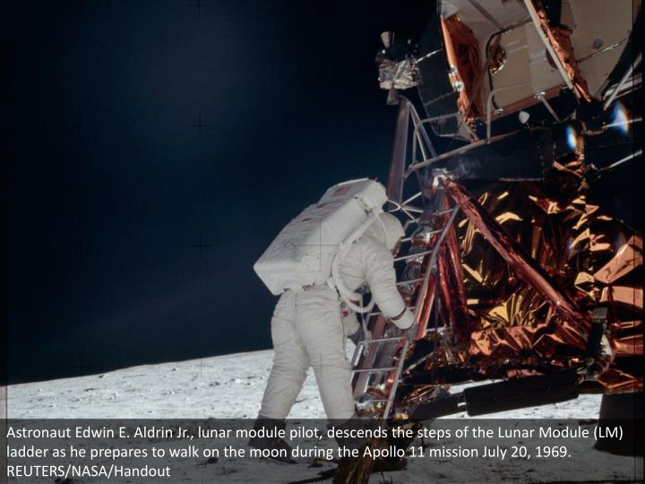 Astronaut Edwin E. Aldrin Jr., lunar module pilot, descends the steps of the Lunar Module (LM) ladder as he prepares to walk on the moon during the Apollo 11 mission July 20, 1969. REUTERS/NASA/Handout