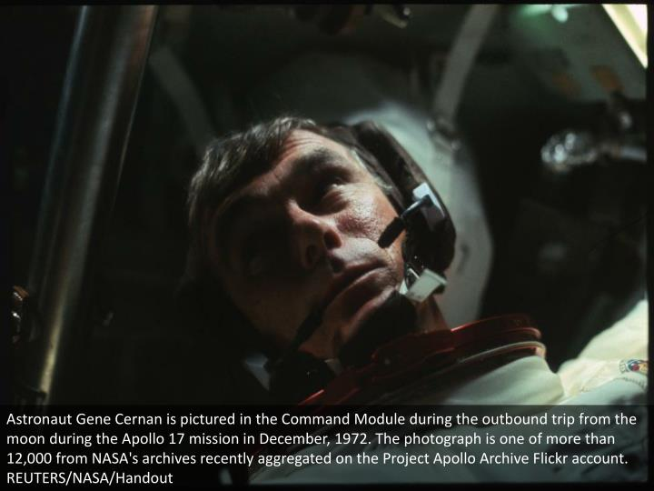 Astronaut Gene Cernan is pictured in the Command Module during the outbound trip from the moon durin...