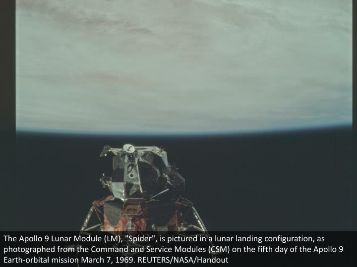 "The Apollo 9 Lunar Module (LM), ""Spider"", is pictured in a lunar landing configuration, as photographed from the Command and Service Modules (CSM) on the fifth day of the Apollo 9 Earth-orbital mission March 7, 1969. REUTERS/NASA/Handout"