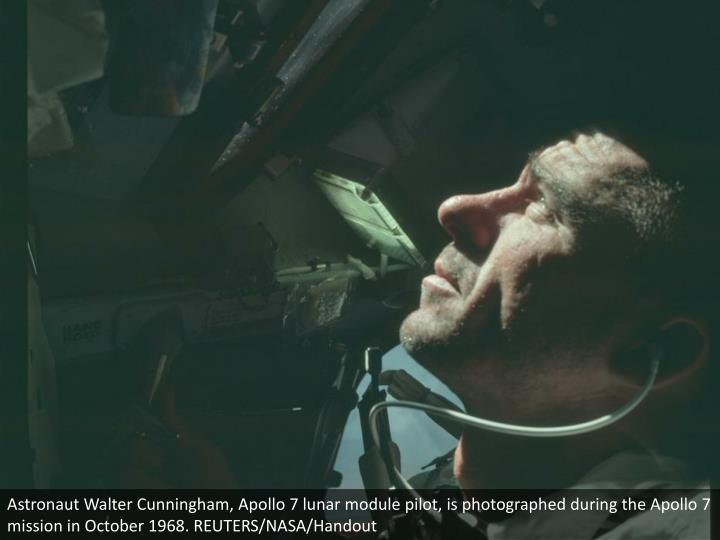 Astronaut Walter Cunningham, Apollo 7 lunar module pilot, is photographed during the Apollo 7 mission in October 1968. REUTERS/NASA/Handout