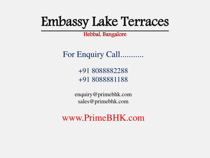 Embassy lake terraces hebbal bangalore