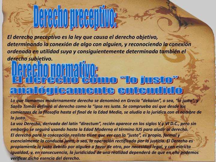 Derecho preceptivo: