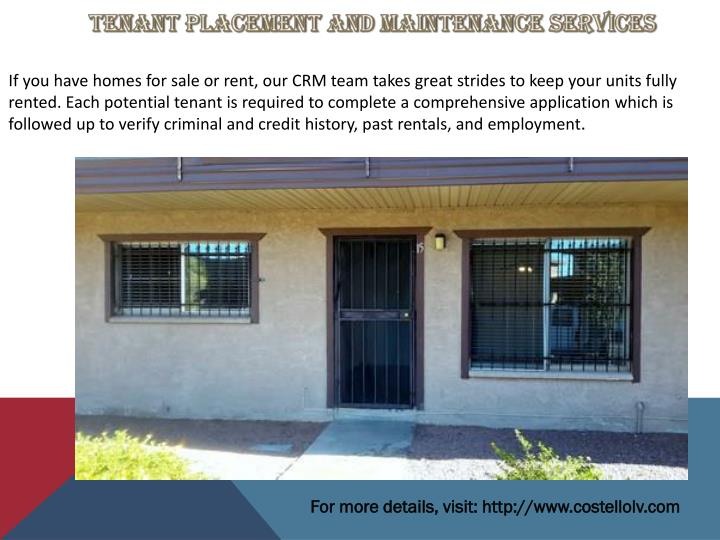 Tenant Placement and Maintenance Services