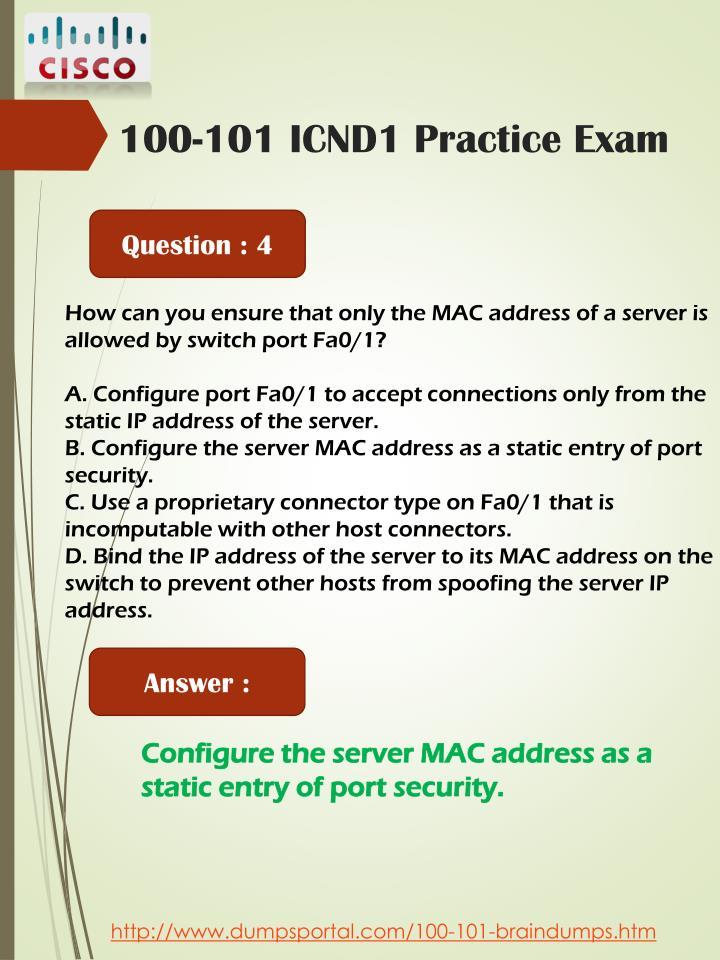 100-101 ICND1 Practice Exam