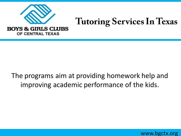 The programs aim at providing homework help and