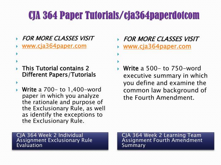 CJA 364 Paper Tutorials/cja364paperdotcom