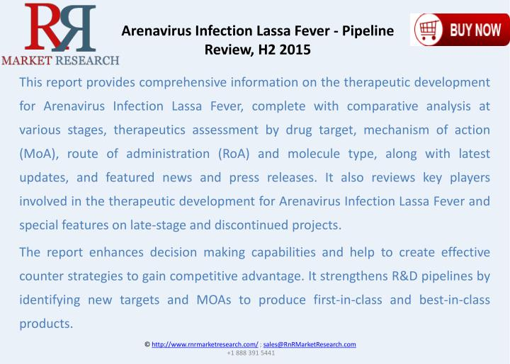 Arenavirus Infection Lassa Fever - Pipeline Review, H2 2015