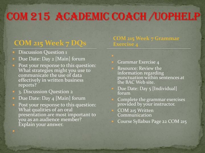 COM 215  Academic Coach /