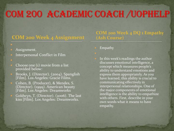 COM 200  Academic Coach /