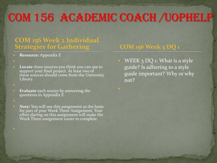 COM 156  Academic Coach /