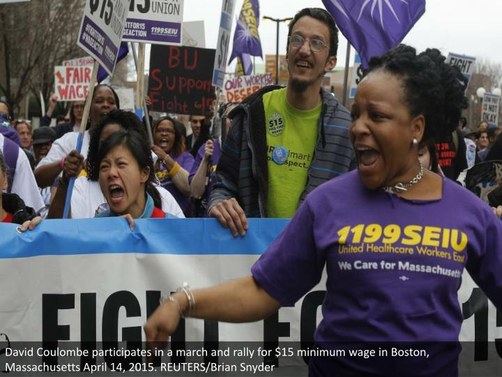 David Coulombe participates in a march and rally for $15 minimum wage in Boston, Massachusetts April 14, 2015. REUTERS/Brian Snyder
