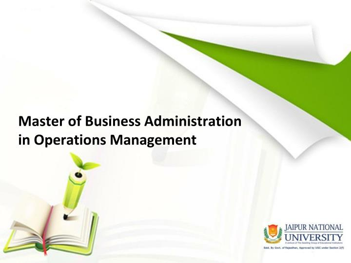 Master of business administration in operations management