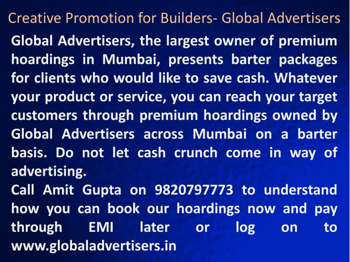 Creative Promotion for Builders- Global Advertisers
