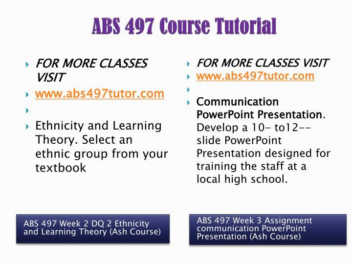ABS 497 Course Tutorial