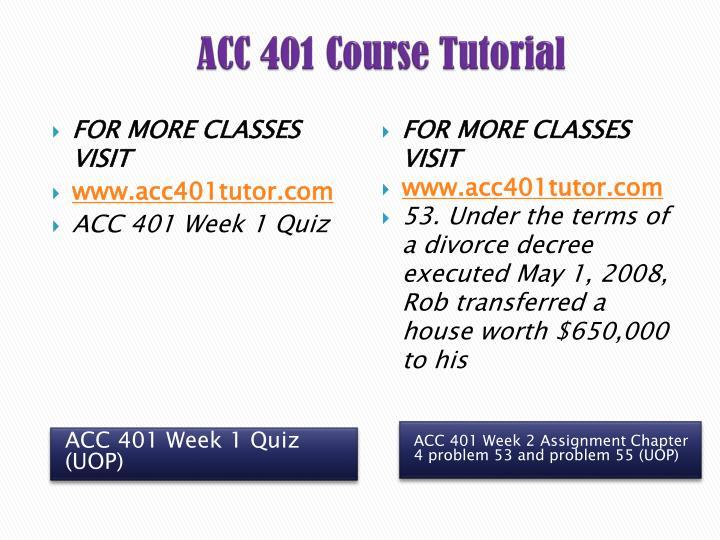ACC 401 Course
