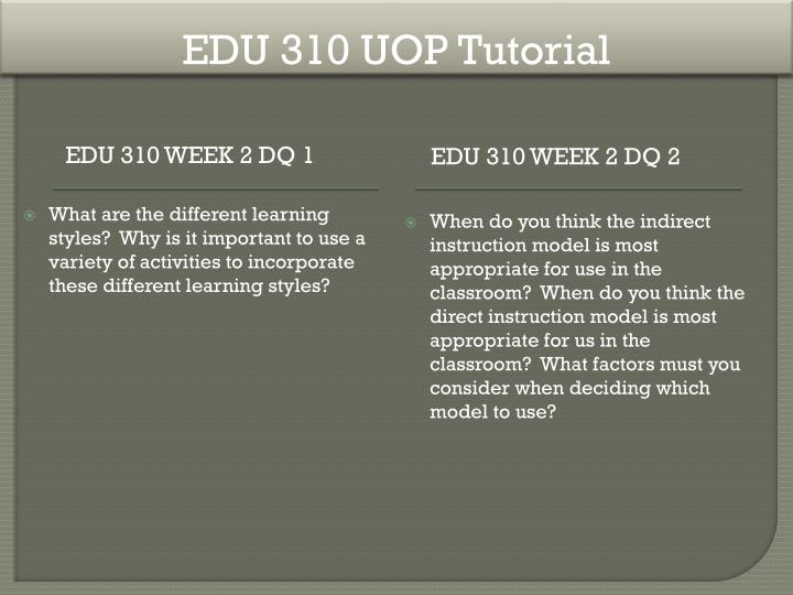 EDU 310 UOP Tutorial