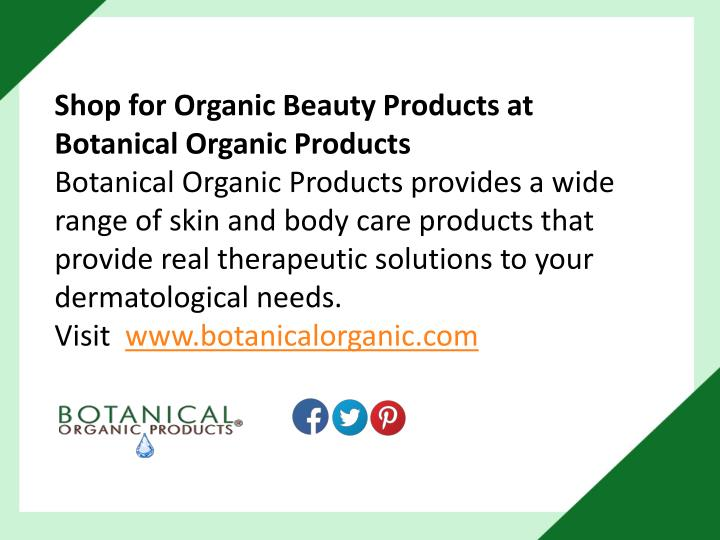 Shop for Organic Beauty Products at Botanical Organic Products