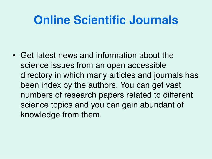 Online Scientific Journals