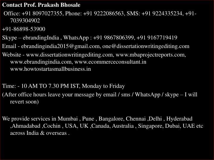 Contact Prof. Prakash Bhosale