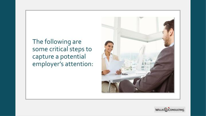 The following are some critical steps to capture a potential employer's attention: