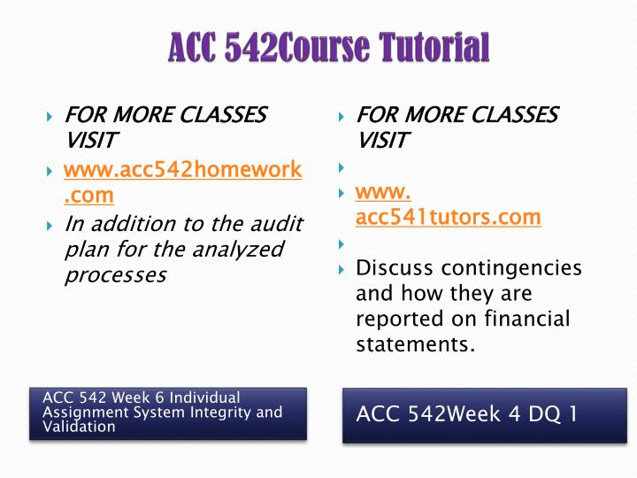 ACC 542Course Tutorial