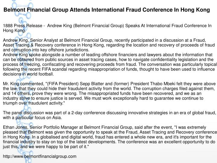 Belmont Financial Group Attends International Fraud Conference In Hong Kong