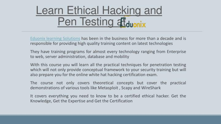 Learn Ethical Hacking and