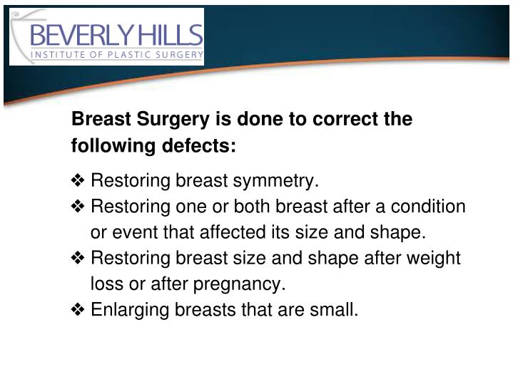 Breast Surgery is done to correct the following defects: