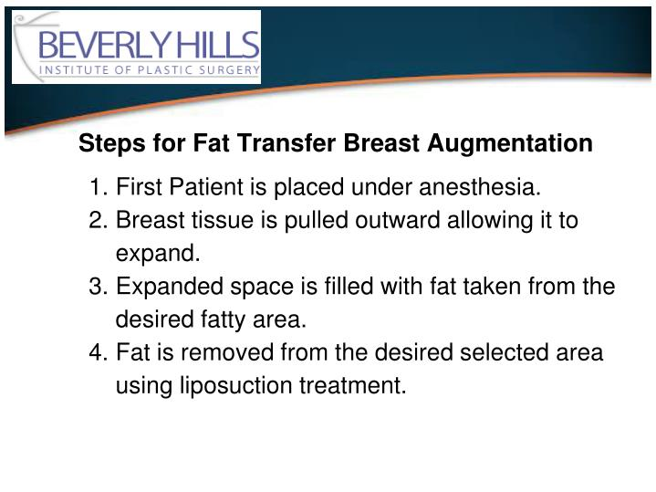 Steps for Fat Transfer Breast Augmentation