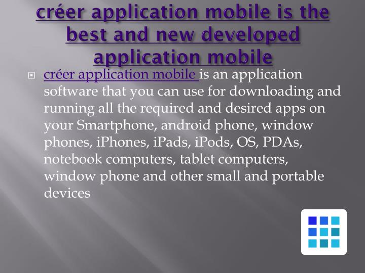 créer application mobile is the best and new developed application mobile
