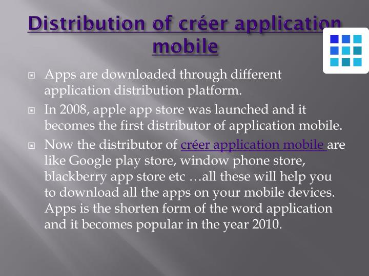 Distribution of créer application mobile