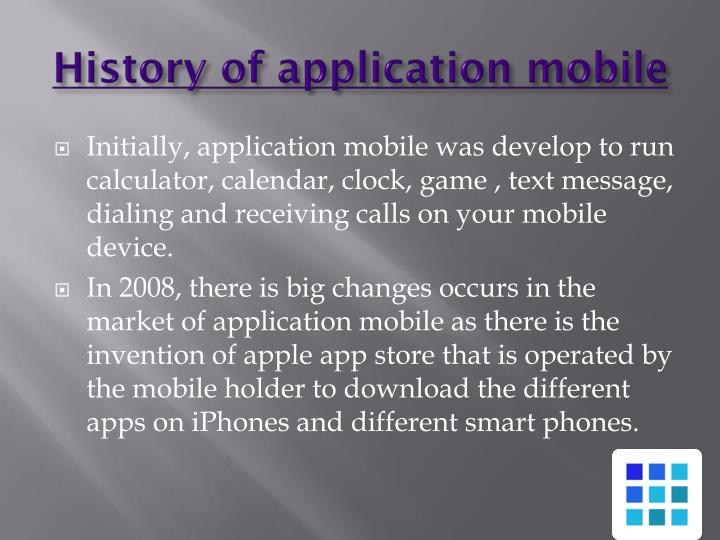 History of application mobile