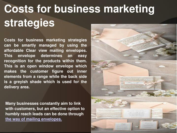 Costs for business marketing strategies