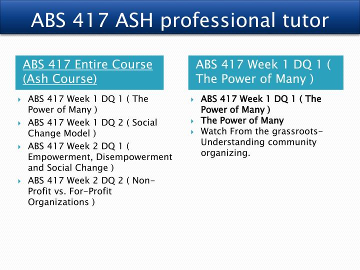 ABS 417 ASH professional tutor
