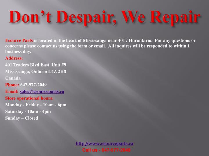 Don't Despair, We Repair