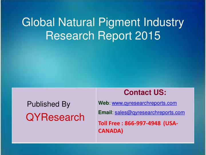 Global Natural Pigment Industry
