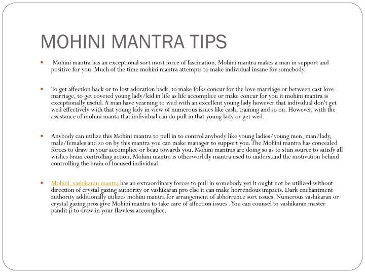 MOHINI MANTRA TIPS