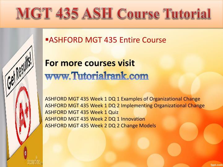 MGT 435 ASH