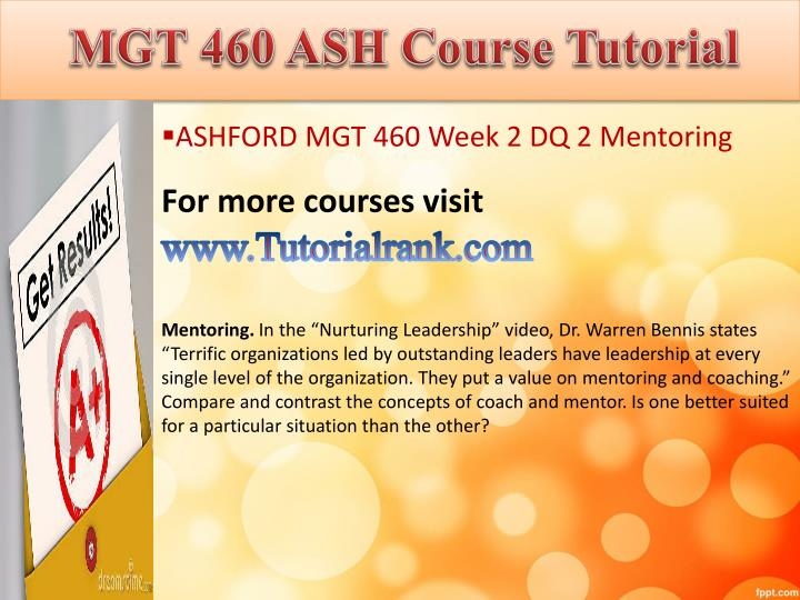 MGT 460 ASH