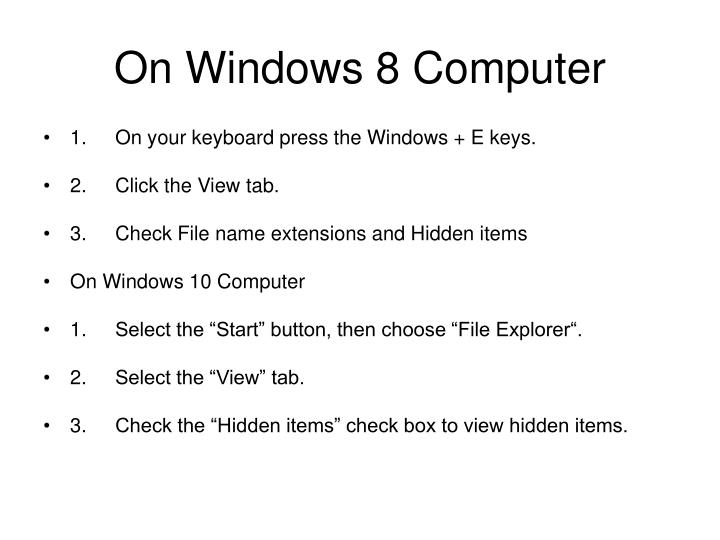 On Windows 8 Computer