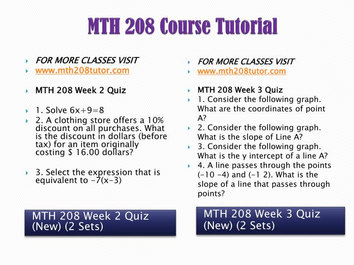 MTH 208 Course Tutorial